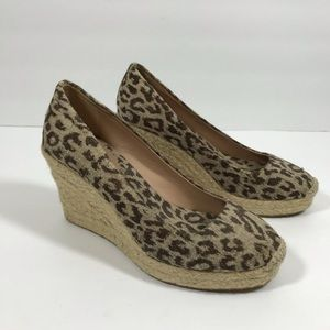 J. Crew canvas leopard espadrille wedges